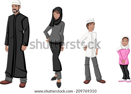 Happy cartoon family. Muslim people.  - stock vector