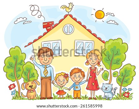Happy cartoon family with two children and pets near their house with a garden, no gradients - stock vector