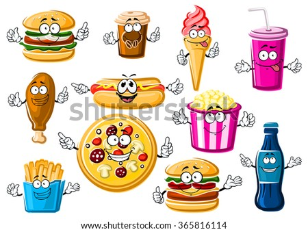 Happy cartoon fast food menu characters with pepperoni pizza, french fries, hamburger, cheeseburger, hot dog, fried chicken leg, popcorn, ice cream cone, paper cup of coffee and soda drink - stock vector