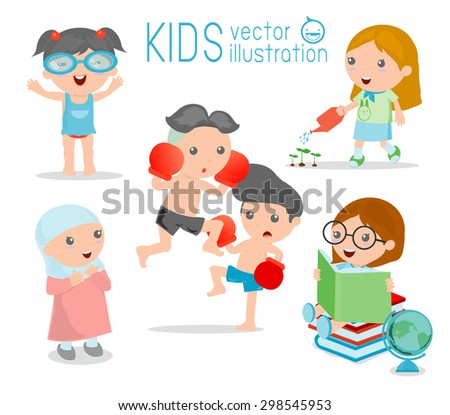 happy cartoon kids kids playing on white background kid playing and lifestyle vector
