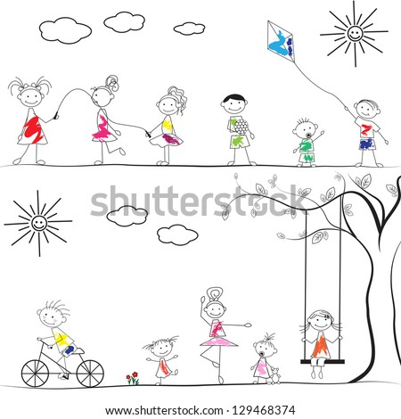 Happy Cartoon Kids Playing At Playground Isolated On White Background - Vector Illustration, Graphic Design Editable For Your Design. Logo Symbols - stock vector