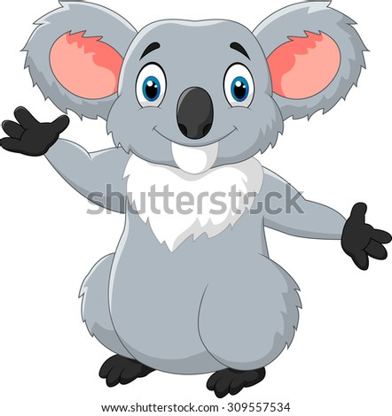 Happy cartoon koala waving hand