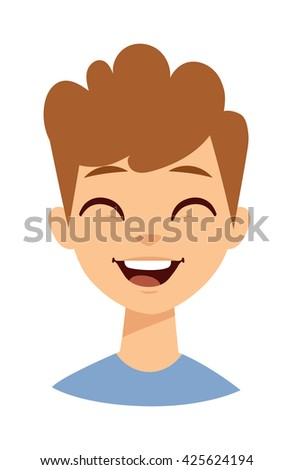 Happy cartoon laughing boy and Laughing boy vector character. Laughing boy face and lifestyle schoolboy preschooler casual laughing boy. Face cheerful little laughing boy, youth emotion laugh boy. - stock vector