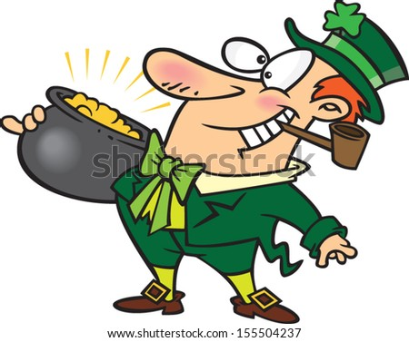 Happy cartoon leprechaun holding a pot of gold