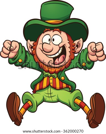 Happy cartoon leprechaun. Vector clip art illustration with simple gradients. All in a single layer.  - stock vector