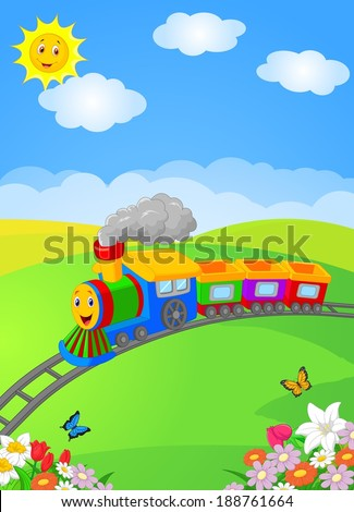 Happy cartoon locomotive - stock vector