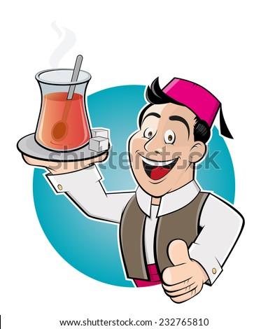 happy cartoon man is serving turkish tea - stock vector
