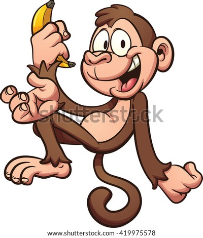 Happy cartoon monkey holding a banana. Vector clip art illustration with simple gradients. All in a single layer.  - stock vector