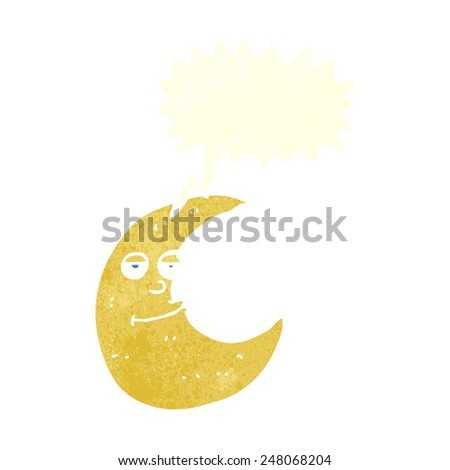 happy cartoon moon with speech bubble - stock vector