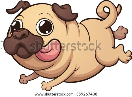 Happy cartoon pug running. Vector clip art illustration with simple gradients. All in a single layer.  - stock vector