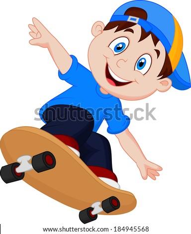 Happy Cartoon Skateboard Boy  - stock vector