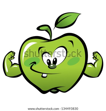 Happy cartoon strong and smiling green apple making a power gesture - stock vector