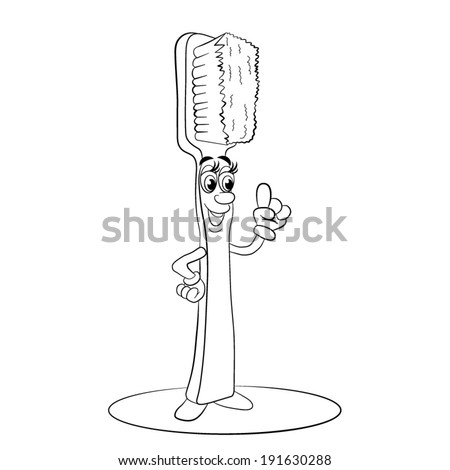 Happy cartoon toothbrush character smiling and making a forefinger up gesture. Coloring book. - stock vector