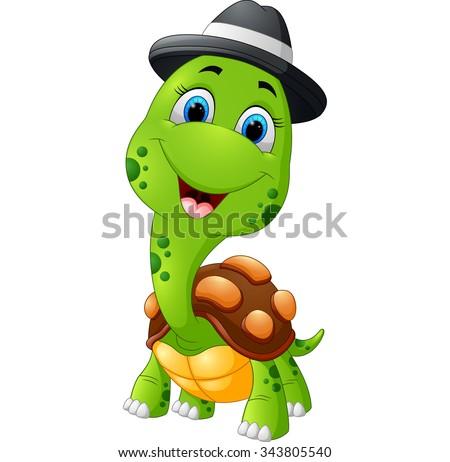 Happy cartoon turtle wearing cap - stock vector