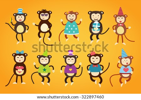 Happy cartoon vector christmas monkey toys dancing party birthday background. Monkey party birthday dance. Merry christmas monkey toys, monkey vector, banana, jump, smile, monkey play. Vector monkey - stock vector