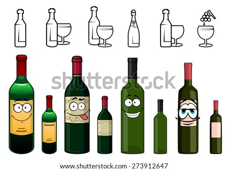Happy cartoon wine bottles characters with colorful protective foils in the tops and various labels on white background including bottle and glass silhouettes along the top edge
