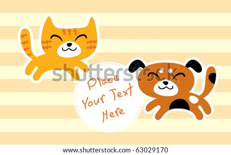 happy cat and dog message - stock vector