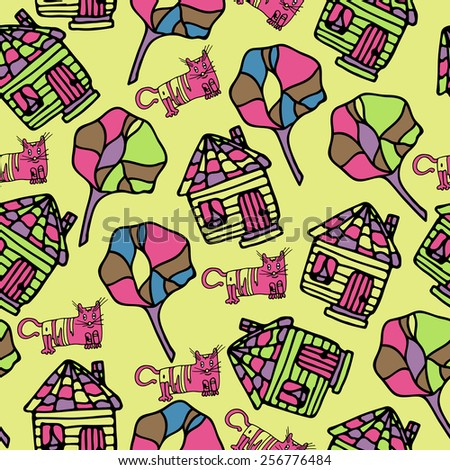Happy cat and village house pattern seamless.