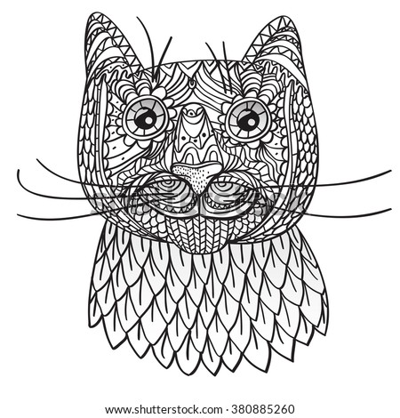 Happy Cat Coloring Page Vector Illustration Isolated On A White Background