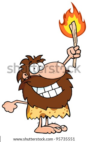 Happy Caveman Holding Up A Torch.Vector Illustration - stock vector