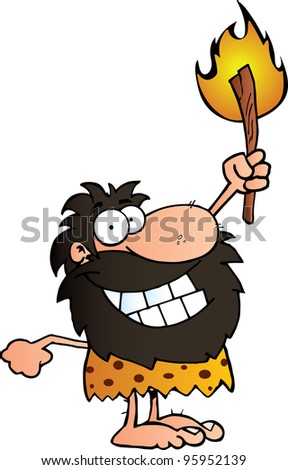 Happy Caveman Holding Up A Torch. Vector illustration with simple gradients.Jpeg version also available - stock vector