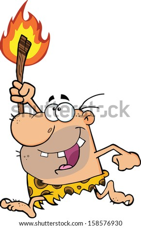 Happy Caveman Running With A Torch. Vector Illustration Isolated on white - stock vector