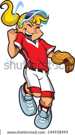 Happy Celebrating Girl Baseball Softball Pitcher - stock vector