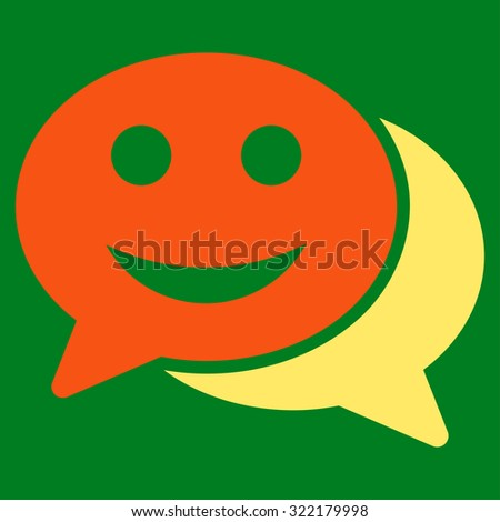 Happy Chat vector icon. Style is bicolor flat symbol, orange and yellow colors, rounded angles, green background.