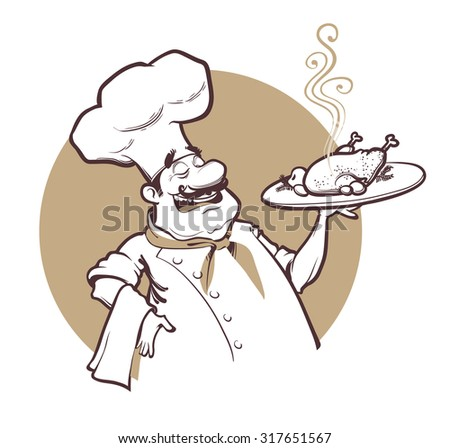 Happy cheaf with fried chicken. Vector Illustration.