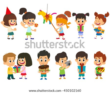happy cheerful children having fun at a birthday party. isolated on white background. Vector illustration. - stock vector