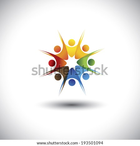 happy cheerful multiracial employees of a company together - concept vector. This graphic also represents concepts like teamwork, team spirit, cooperation, alliance, excitement, happiness, zest - stock vector