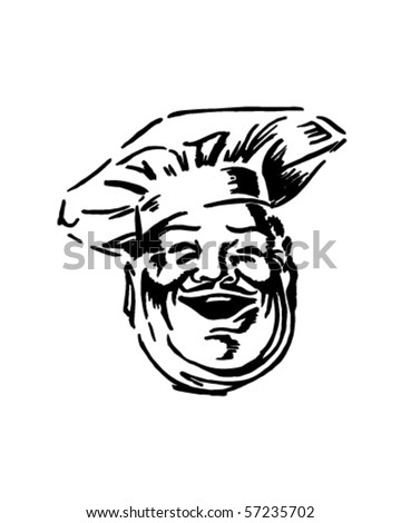 Happy Chef - Retro Clip Art - stock vector