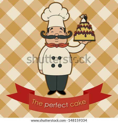 Happy chef with wedding cake card - stock vector