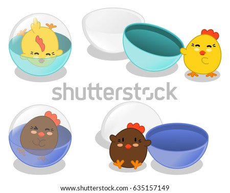 Happy chicken in gashapon capsules closed and open (set of four kawaii illustrations)