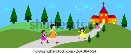 Happy child going to church - time line cover- Vector illustrations - stock vector