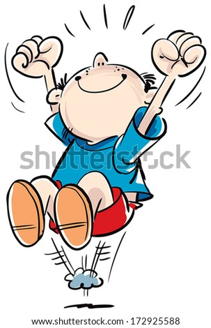 Happy child looks forward to and jumping. - stock vector