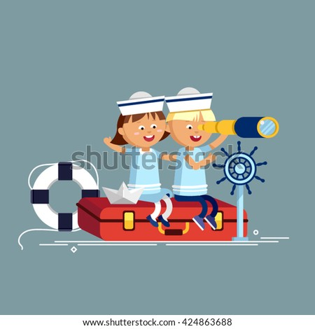 Happy child playing with vintage nautical things. Kid having fun. Summer sea dream and imagination. Adventure and travel concept. Chidhood dream. Sailor child. Friends - stock vector