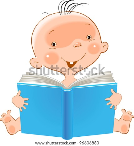 happy child receives knowledge from an open book - stock vector