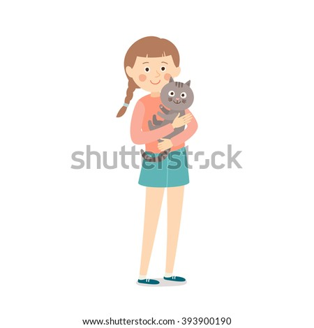 Happy child with a cat. Teenage girl with her cat. Best friends. Cartoon vector clip art illustration on white background. - stock vector