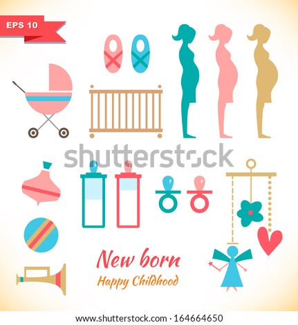 Happy childhood collection. Set with toys. Childish elements. New born symbols. Pregnant. Mother and child - stock vector