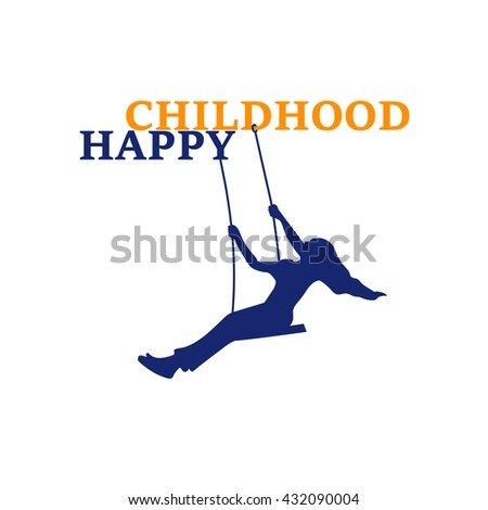 Happy childhood logo. Playground logo. The Girl in a Swing. Playing for Kids. Logo Template. - stock vector