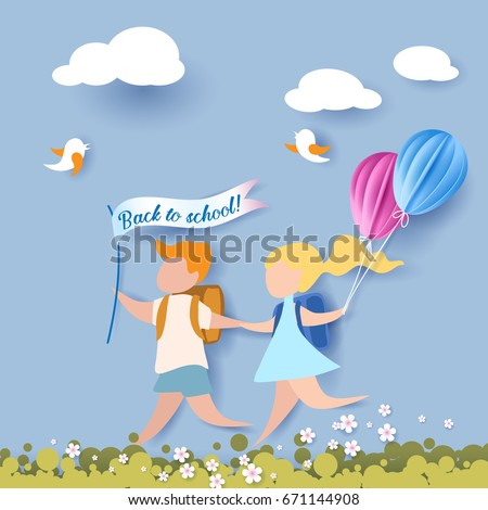 Happy children boy and girl run back to school with balloons and flag. Paper cut design Vector illustration