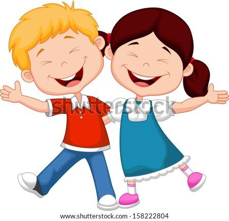 Happy children cartoon - stock vector
