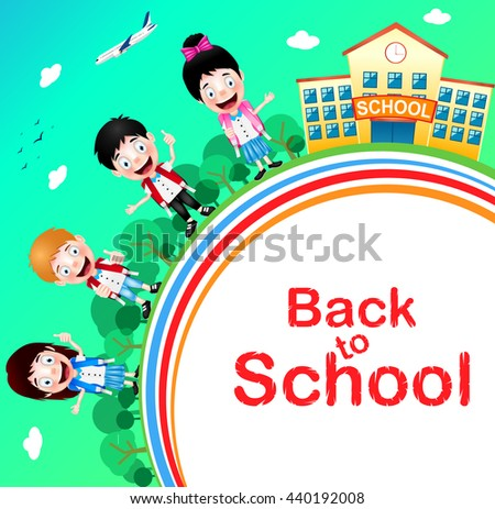 Happy Children Characters with School Building and Airplane with Back to School Text. Vector Illustration   - stock vector