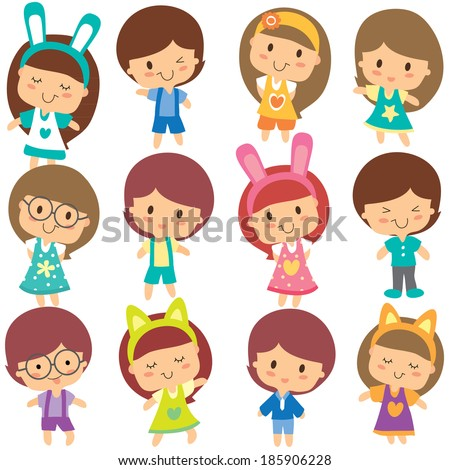 happy children clip art set - stock vector
