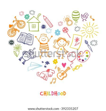happy children drawing vector doodle heart - Children Drawing Images