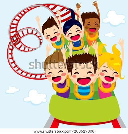 Happy children enjoy roller coaster ride screaming and having fun - stock vector