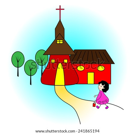 Happy children going to church-Vector illustration  - stock vector
