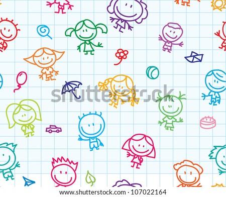 Happy children hand drawn doodles seamless background - stock vector
