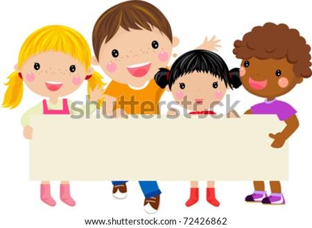 Happy children holding a banner -illustration art - stock vector